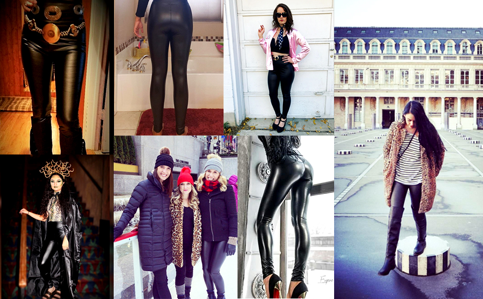 push up leather leggings women
