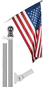 6 Ft Flagpole + 3x5 Ft Pole Sleeve Flag (Silver)