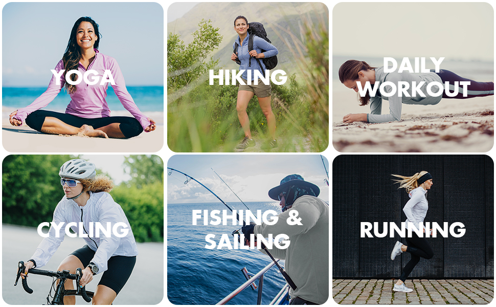 cycling hiking running fishing sailing outdoor yoga