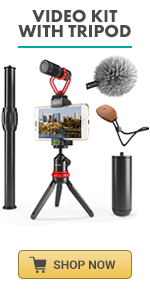 Movo VXR10+ includes shotgun microphone perfect youtuber kit with mic for iphone rode videomic