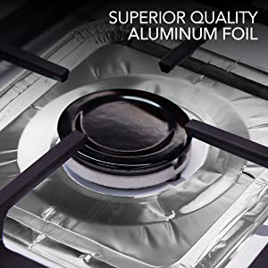 Gas Burner Liners (50 Pack) Disposable Aluminum Foil Square Stove Burner Covers - 8.5 Inch