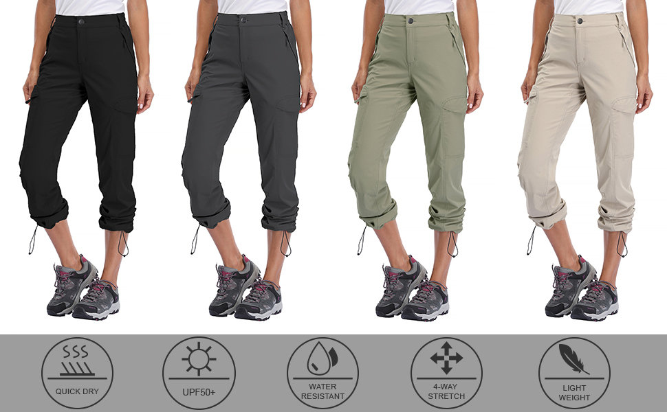 Water Resistant Libin Womens Hiking Cargo Pants Quick Dry Stretch Lightweight Pants Outdoor UPF 50 Fishing Camping Pants