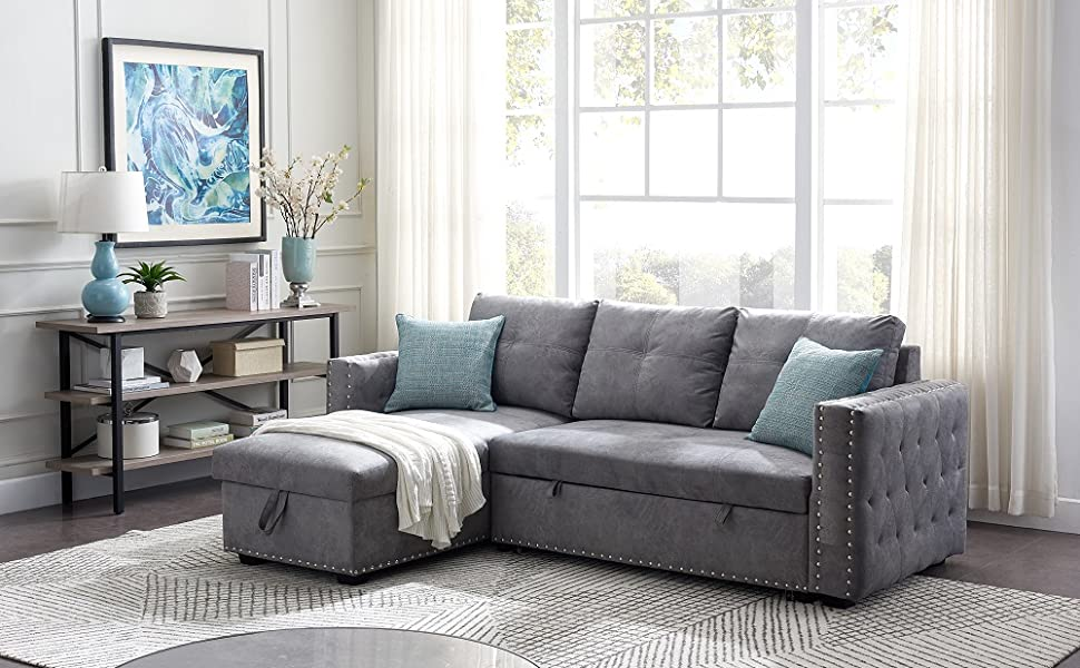 Amazon Com 91 Reversible Sleeper Sectional Sofa 3 Seat With Nail Head Pull Out Sofa Bed Sleeper Sofa Bed With Reversible Chaise Lounge Light Gray Kitchen Dining