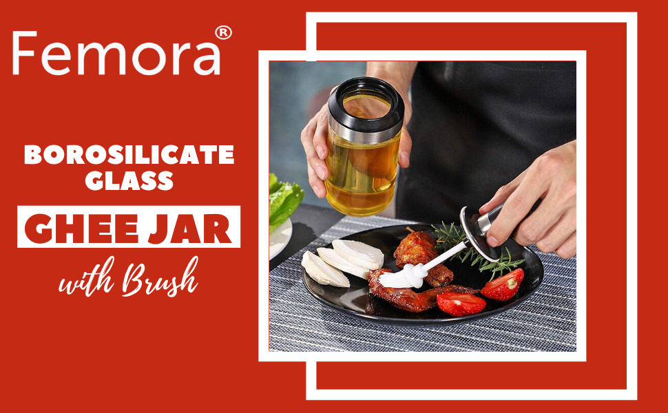 Borosilicate Glass Food Storage Jar with Brush for Ghee Jar