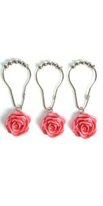 Shower Curtain Hooks Rings, Home Decorative Rust-Resistant Glide Resin Rose Flower Shower Hooks Ring