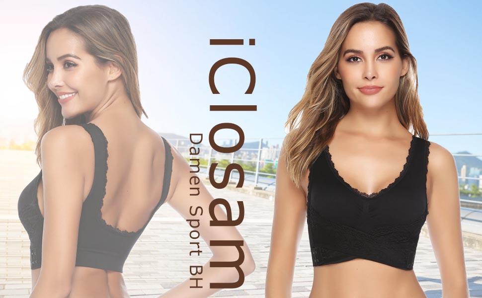 Sport BH Damen Spitzen BH Yoga Gym BH Frauen Bustier Sommer Dünn Front Closure Racerback Lace Bra
