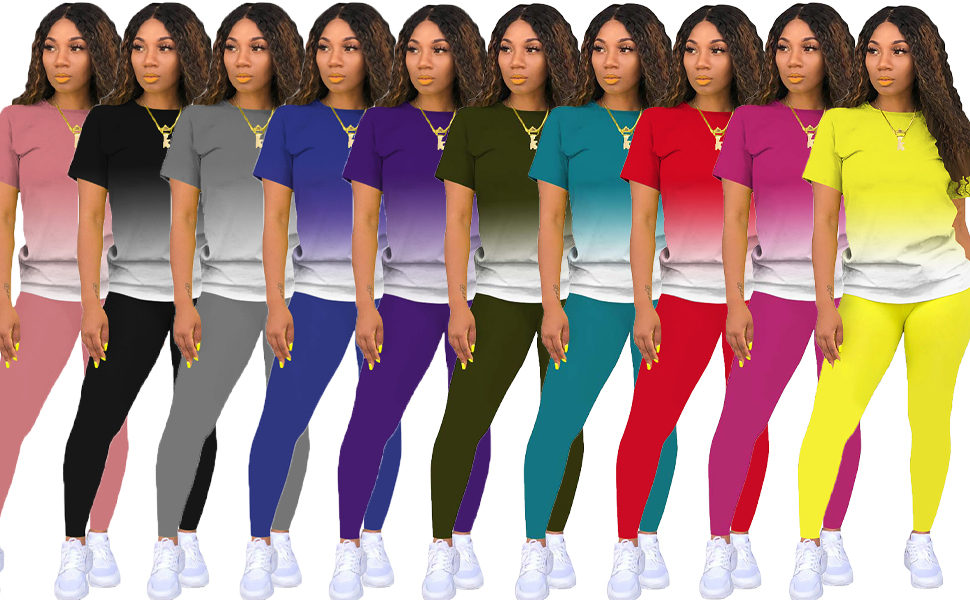 womens 2 piece gradient tracksuit outfit