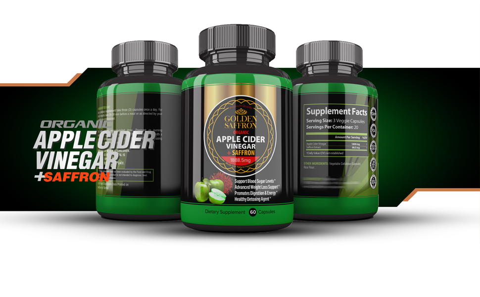 Amazon Com Golden Saffron 100 Organic Apple Cider Vinegar Pills