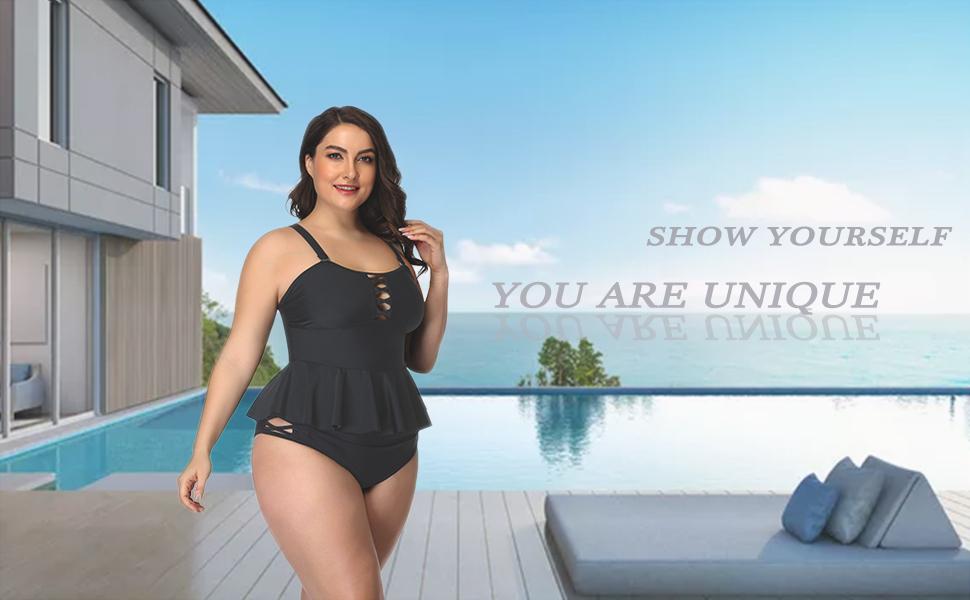PLUS SIZE swimsuits for women ruffle peplum high waisted bottom