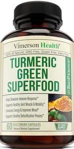 Turmeric Green Superfood Organic Spirulina Barley Grass Vimerson Health