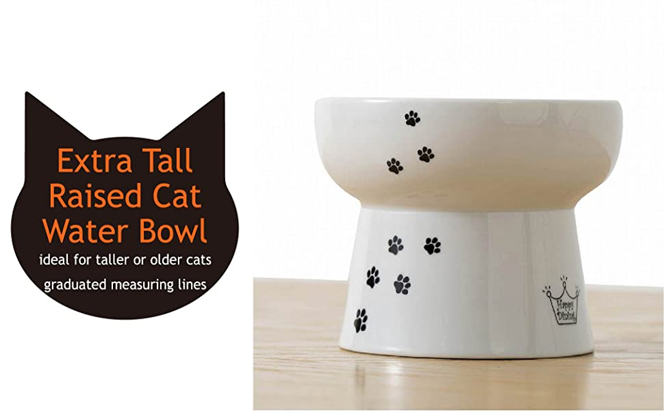 Necoichi Raised Cat Water Bowl, Stress Free, Backflow Prevention,  Dishwasher and Microwave Safe, Lead & Cadmium Free, Made to FDA/EC&ECC