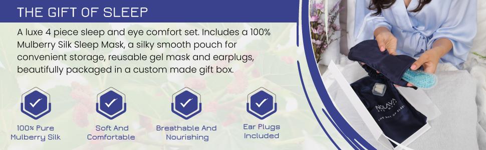 Nolava Designs, Sleep Mask, 100% Pure Mulberry Silk Sleep Mask, Cool Or Warm Gel Eye Mask