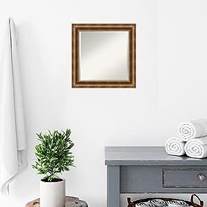 bronze wood bathroom mirror