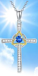 Sterling Silver Celtic Knot Cross Necklace