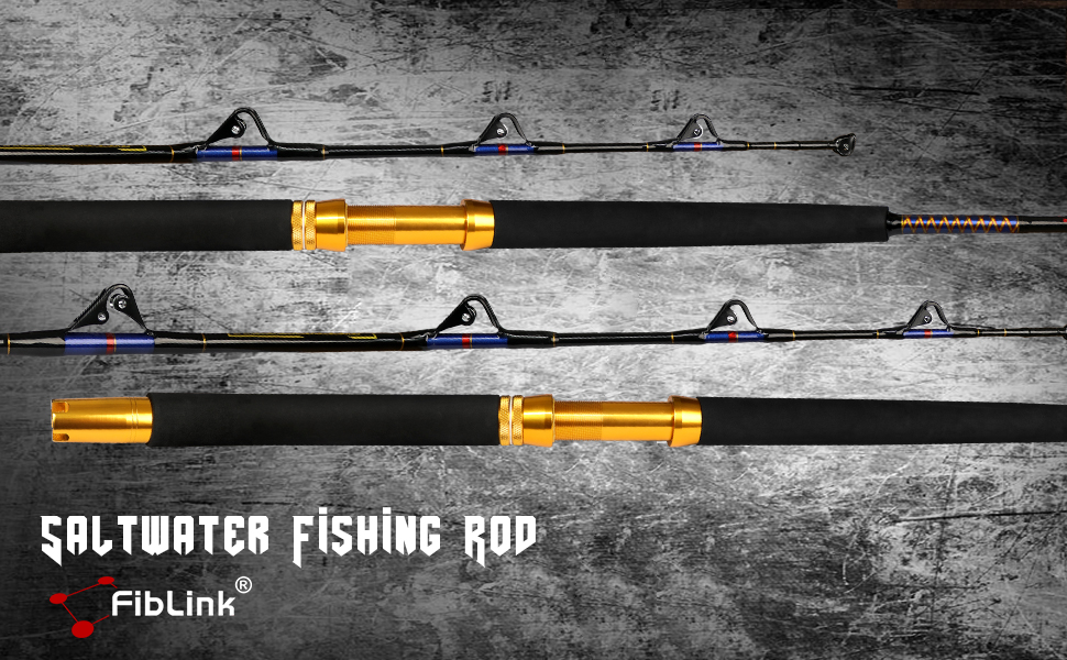 Saltwater Fishing Trolling Rod 1 Piece/2 Piece Heavy Roller Rod Big Name Conventional Boat