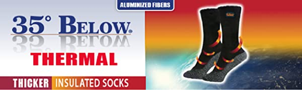 35 Below Thermal Socks with outer space background and red orange arrows near the feet and ankles.