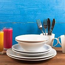Tableware set Dinnerware Cutlery Crockery Plate Bowl Mug Glasses Side Plate