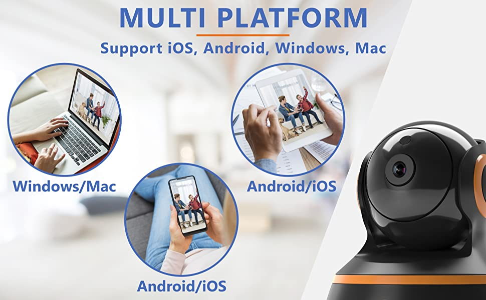 WiFi camera for windows 10 7 Mac iphone android samsung multi platform support iOS iPad tablet