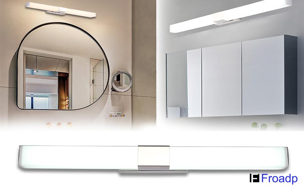 12W Bad Spiegellampe 42cm 1000 Lumen Badlampe aus Edelstahl und PC Kaltwei/ßes 6000K und kein Flackern Wasserdicht IP44 f/ür Spiegel als Make-up Licht Albrillo LED Spiegelleuchte Badezimmer