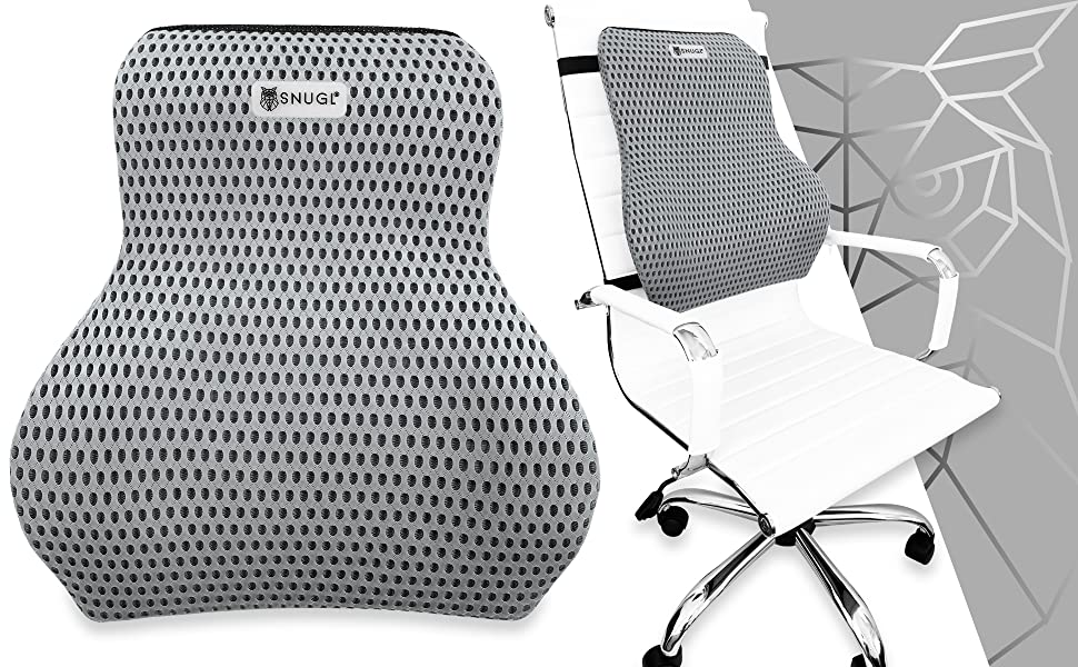SNUGL Premium Memory Foam Lumbar Support Back Cushion Balanced Firmness Designed for Lower Back Pain Relief 4D Mesh Car Recliner Ideal Back Pillow for Computer//Office Chair Jet Black