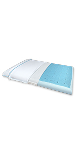 Ultra Slim Max Cool Full Memory Foam Pillow with CarbonBlue