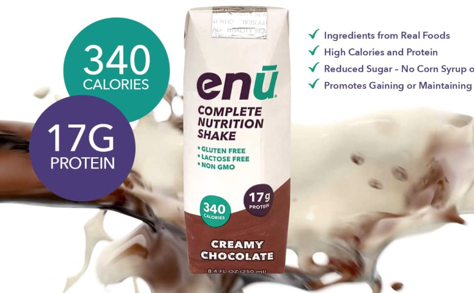 ENU Complete Nutrition Meal Replacement Shakes provide 340 calories, 17g of proteins