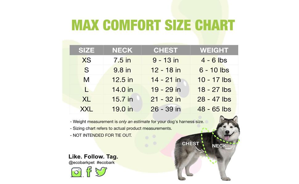 EcoBark Max Comfort Dog Harness Sizing Chart