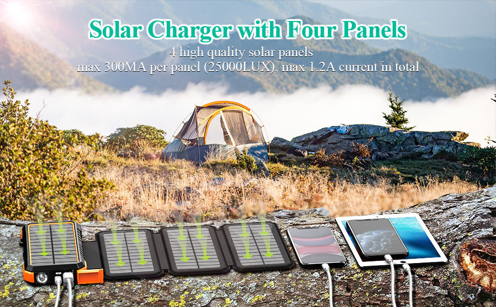 solar charger backup battery battery packs for camping