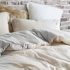 Gray Beige Soft Stripe Stylish Extra Large Oversized Luxury Comforter Set Byourbed Bedding Cozy Warm