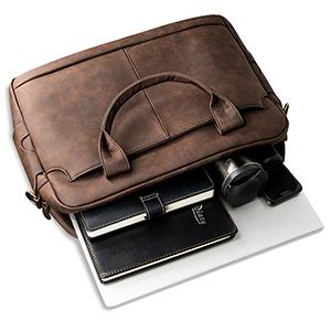 Cigkany Men Briefcase Mens Briefcase Leather Shoulder Messenger Leather Business Casual Vertical Student Sports Computer Bag Suitable for Business Casual Business Bag
