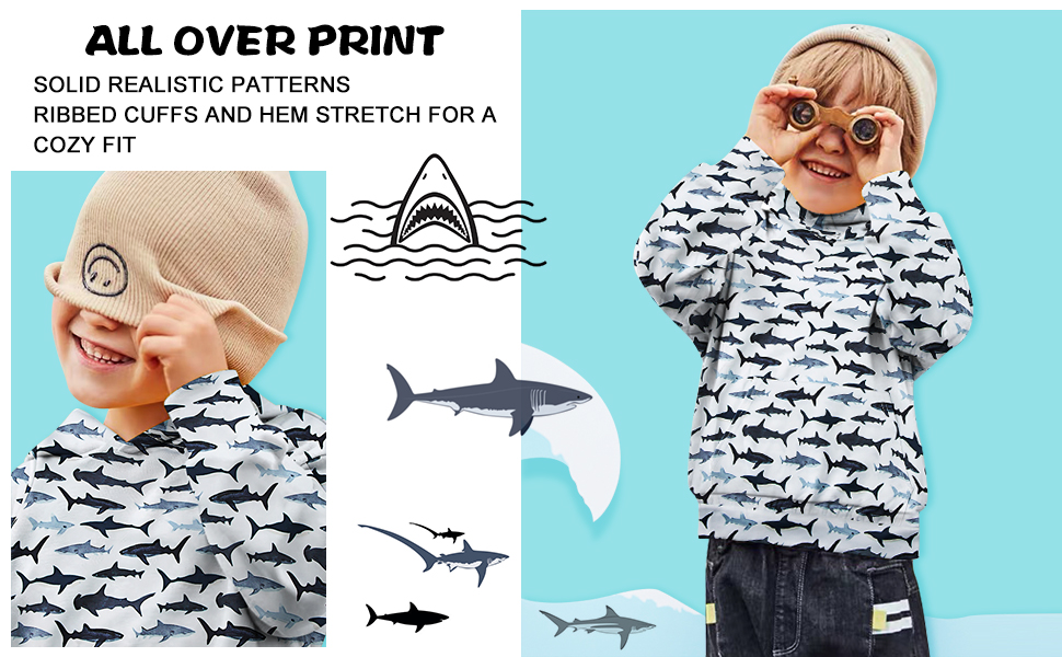 kids shark hooded sweatshirts