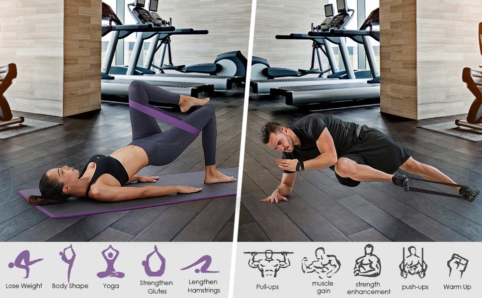 Yoga para Entrenamiento de Fuerza Pilates 4pcs Bandas Elasticas Fitness de L/átex Natural Estiramiento OMORC Bandas de Resistencia