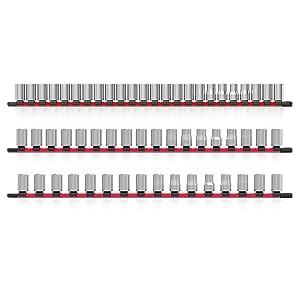 socket organizer holder rail rack tray storage 1/4 3/8 1/2 inch drive olsa tools tool organizer sock