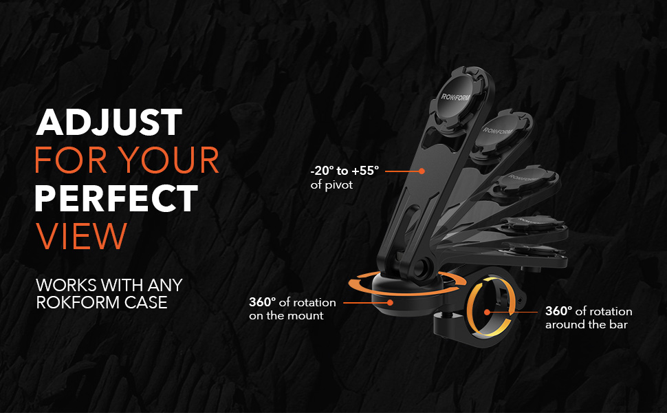 adjustable motorcycle handlebar mount, rokform, aluminum, pivot, rotation, 360 view, perfect angle