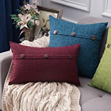farmhouse linen burlap pillows burgundy cranberry red magenta with vintage buttons