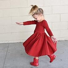 girls red long sleeve dress