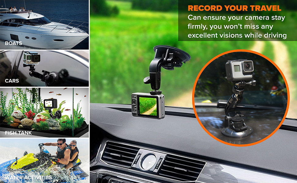 gopro car accessories mounting kit adapter for boats and cars accessory for driver windscreen glass