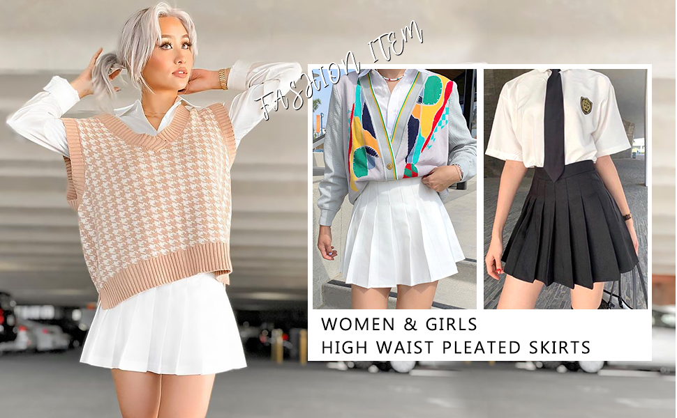 Womens Girls High Waisted Pleated Tennis Skirt School Uniform Mini Skirts Skorts with Shorts