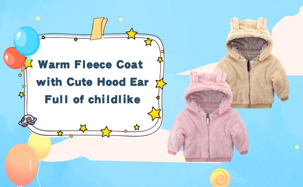 Toddler Girls Boys Hooded Fleece Jacket with Cut Ear Kids Full-Zip Cotton Autumn Winter Coats Sweatshirt Clothes