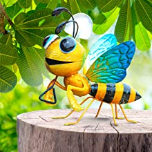 3-Dimensional Indoor Decoration Yard L 7 x W 4 x H 7 House Gift Weatherproof Multicolor Bee for Home Kitchen Handcrafted Outdoor Art Lawn Shefio Honeybee Metal Garden Decor /& Farmhouse