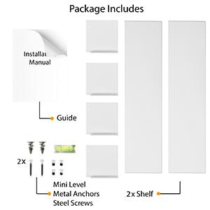 "Wallniture libro u shape metal shelf black floating shelf metal white 24"""