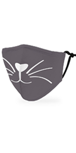 Adult Reusable, Washable Cloth Face Mask With Filter Pocket - Grey Kitty