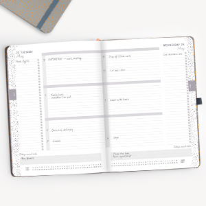 2021 diary a4 page a day structure 3 sections plans tabs to do lists ribbon page markers pen loop