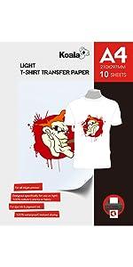 KOALA Papel de transferencia de tinta para camisetas de blancas y claras, 20 hojas, A4: Amazon.es: Oficina y papelería