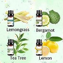 lemongrass bergamot tea tree lemon essential oil for aromatherapy diffuser