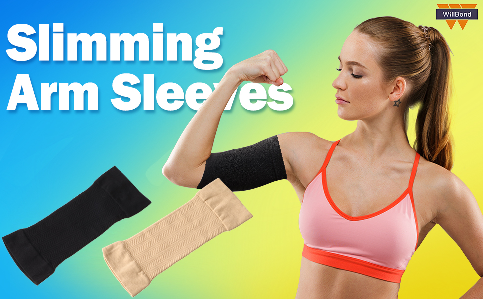 4 Pairs Slimming Arm Sleeves Arm Elastic Compression Arm Shapers Sport Fitness Arm Shapers for Women Girls Weight Loss (Black and Nude Color) 10
