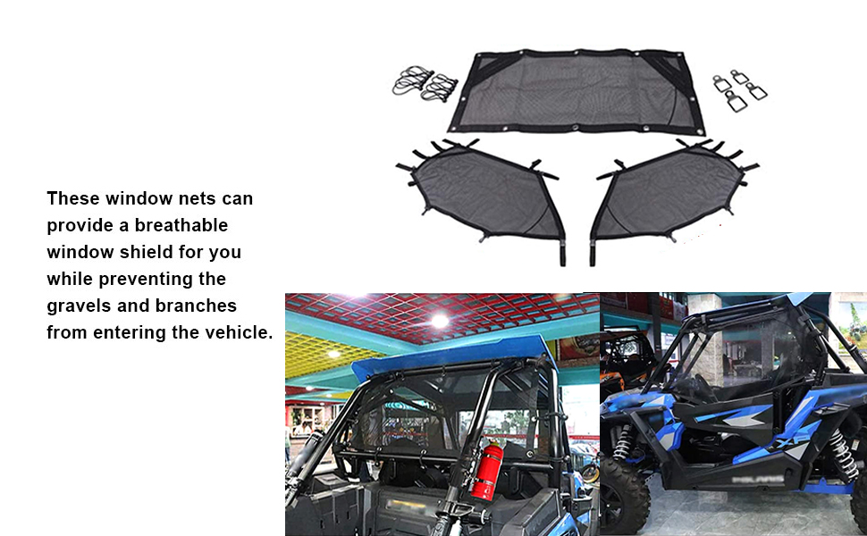 Jade Onlines UTV Window Net Roll Cage Guard Front and Rear Window Shield Net for a RZR 1000 XP 900 S 1000 S Turbo with Stock Cage and Factory Doors