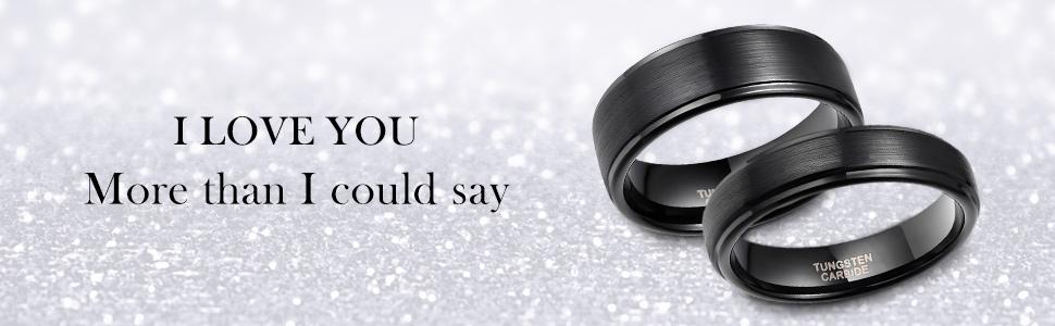 Black Tungsten Wedding Ring for Men Women