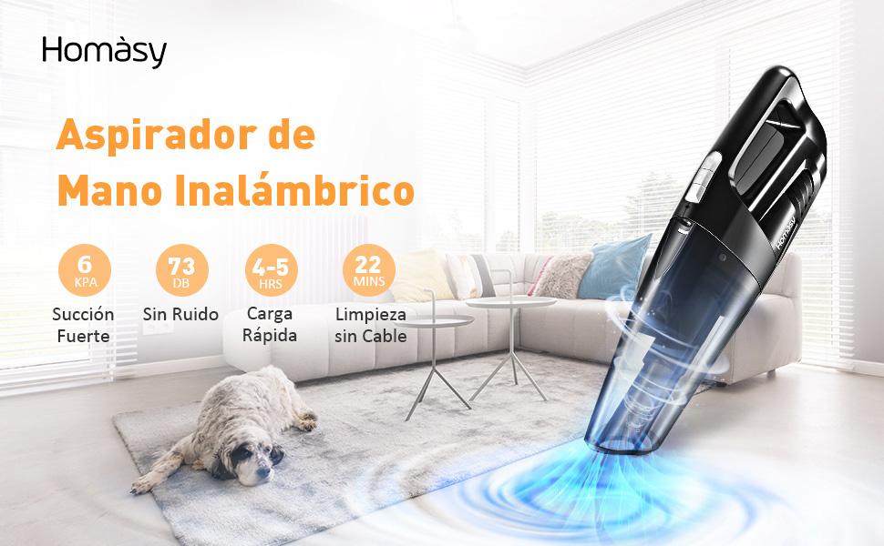 Homasy Aspiradora de Mano, 5KPA Aspirador de Mano Sin Cable 3 en 1, Aspiradora de Mano Sin Cable Potente, con Luz LED, Tiempo Largo de Trabajo, con 3 Boquillas para, Hogar y