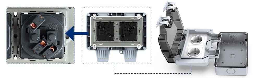 Kupton Toma Exterior Toma Corriente IP66 con Doble Interruptor para Pared Dise/ñado para Jardines al Aire Libre y Garajes
